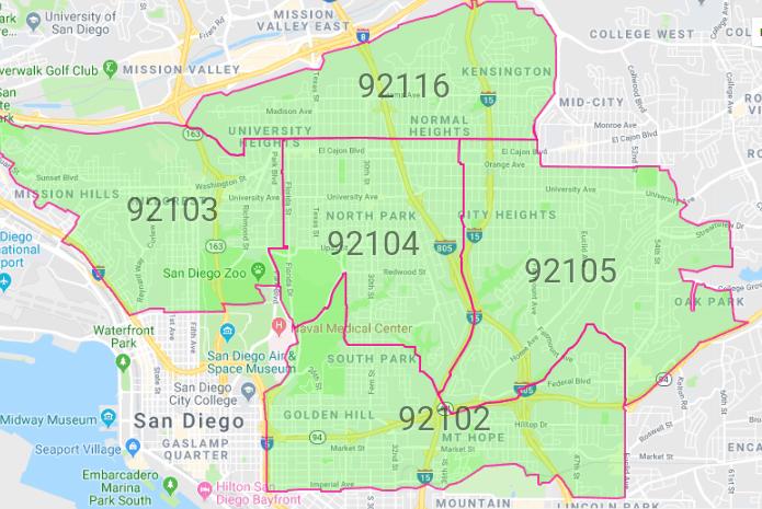 San Diego map featuring neighborhoods